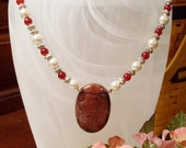 Red Jasper Pendant Necklace with Pearls and Red Agate - SALE, simple, elegant