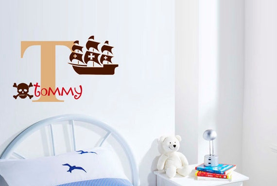 Pirate Ship Initial Name Kids Vinyl Wall Decal Sticker