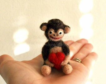 Tiny Love Monkey - Micro Monkey -  Needle Felted Monkey - Christmas Ornament
