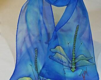 """Painted silk scarf. Dragonfly Silk Scarf. 8"""" x 52"""". Handpainted silk scarf. Handmade silk scarf. Dragonfly scarf. Handpainted silk scarves"""