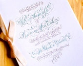 Calligraphy Wedding Program - Hand Lettered Custom - DIGITAL - DIY, Printing at Home or a Print Shop. Made to Order.