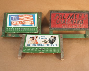 Antique Train Set Signs  /  one with American Indian Sign