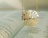 Gold Monogram Necklace, handmade Designer Jewelry
