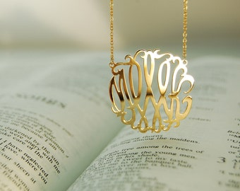 "Gold Monogram Necklace-Initial necklace 1"" Silver& 18k Gold-plated(vermeil)"