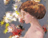Romantic Flowers with Nude Portrait of a Woman - Giclee Print