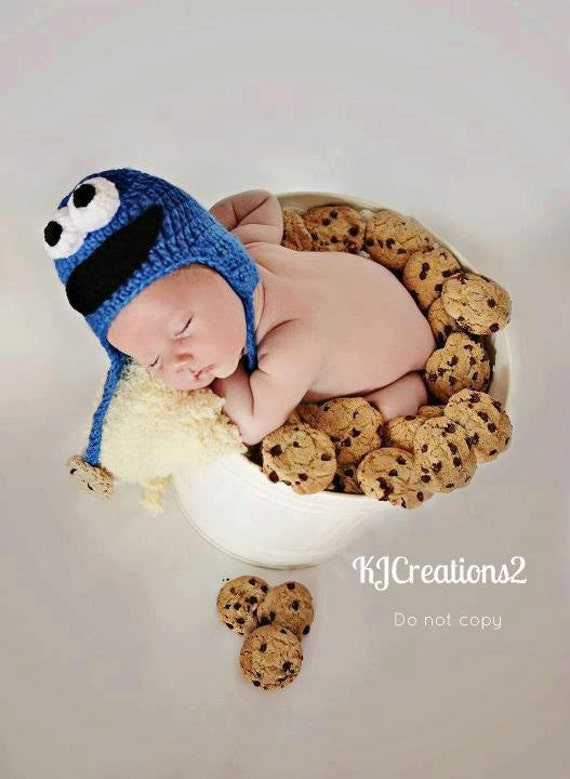 Monster Hat-Newborn to adult sizes-Cookie monster hat inspired