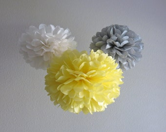 7 Pom Poms - Yellow & Grey Mod Paper Pom-Poms - As Seen on Cupcake Wars