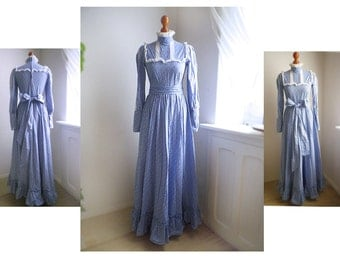 Vintage 70s LAURA ASHLEY maxi dress, Romantic Edwarian Victorian Wedding Ballgown / 10 / High collar long sleeve Lavender Blue