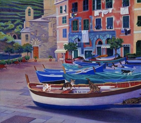 Vernazza Piazza (Italy) Painting -  Museum Quality Limited Edition Print on Paper with Archival Inks