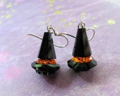 Witch Hat Earrings, Halloween Earrings, Black Earrings, Swarovski Earrings, Holiday Earrings, Halloween Jewelry, Orange Earrings, Dangle