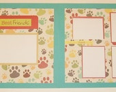 Double Page Dog Scrapbook Layout, 12x12 Premade