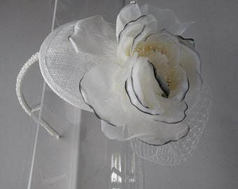 White Silk Flower Sinamay Fascinator Hat with Veil and Pearl Beaded Headband, for weddings, parties, special occasions