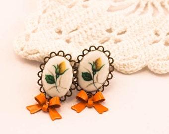 Yellow Rose Earrings, Victorian Cameo Earrings, Dainty Earrings, Vintage Inspired Earrings, Flower Earrings, Rose Earrings, Gift For Woman