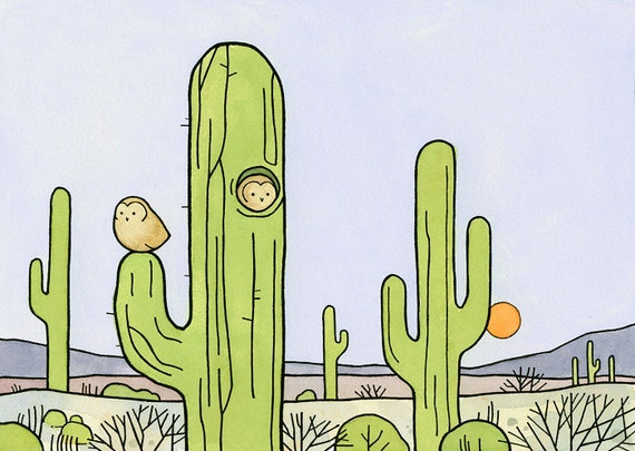 Desert Cactus Illustration - Elf Owls Print 5x7