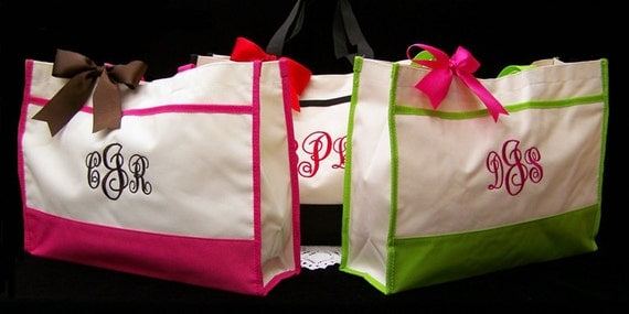 6 Personalized Tote Bag Bridesmaids Wedding Gift Bags