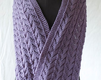 Hand knitted violet-grey scarf