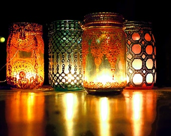 Boho Hanging Lantern, Brilliant Light Aqua Mason Jar Candle Holder with Moroccan Styled Copper Detailing