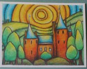 ART MAGNET Large fairytale castle postcard size from an original drawing +free postcard. free p&p uk