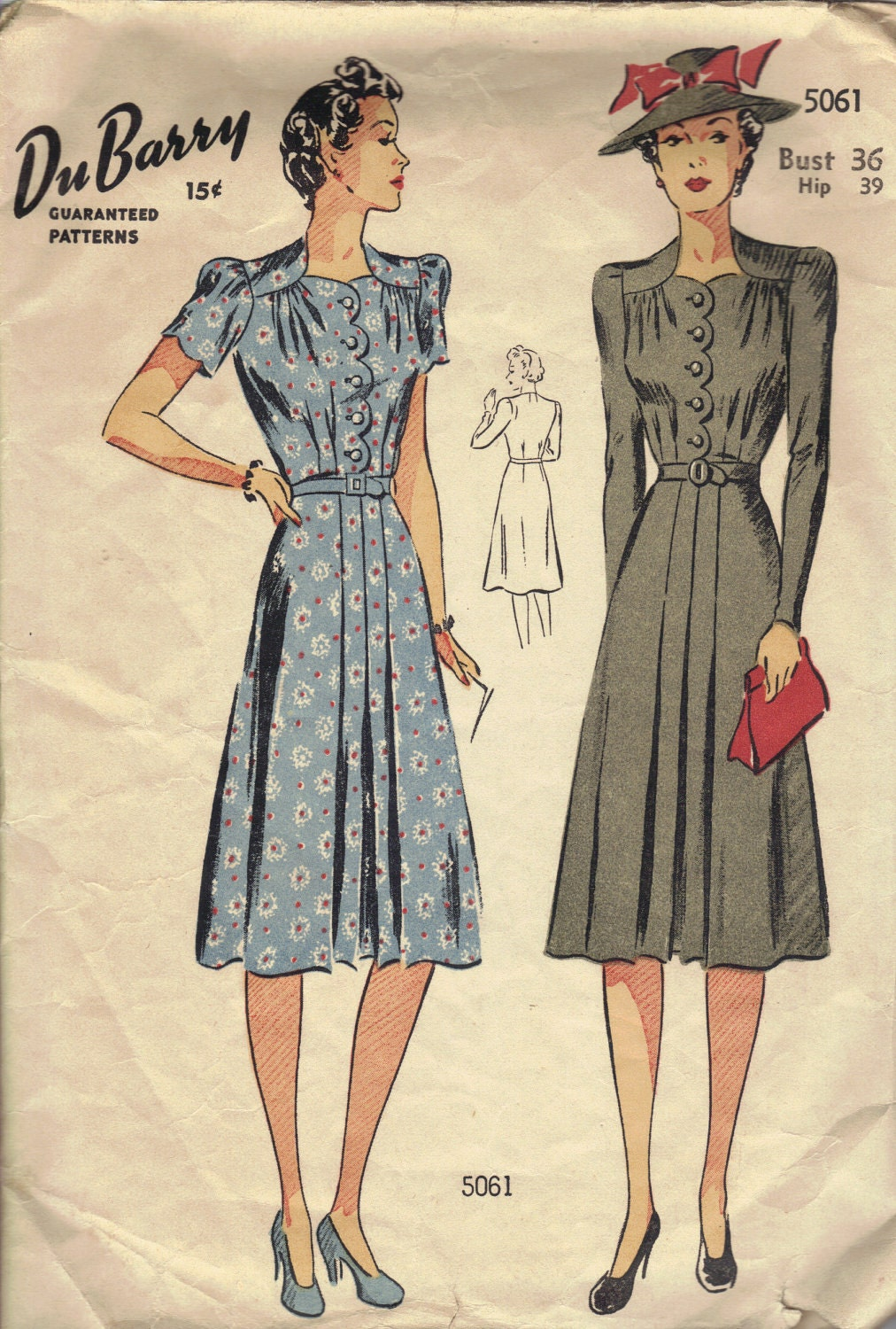 1940s Tea Dress WWII Fashion Pleated Skirt Front Scallop