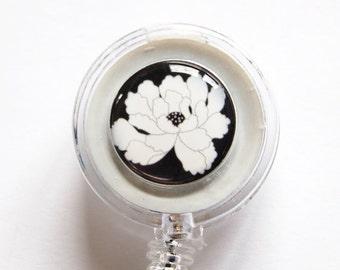 ID Badge Holder, Flower, Retractable id, Badge clip, Black, White, name tag, Badge Reel (1145)