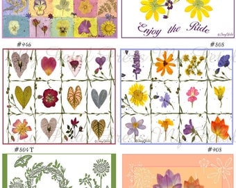 Pick 2 of the Kitchen Flour Sack Tea Towels  More Choices Pressed Flower Art Personalized Free