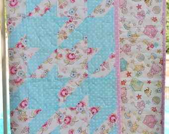 SALE Pastel Baby Girl Blanket, Patchwork Quilt Houndstooth Pink Aqua Cream Nursery, Free Shipping Ready to Ship, Homemade Crib Cot Bedding
