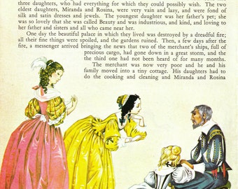 Beauty and the Beast / Hansel and Gretel - Vintage Illustration Storybook Print - Deans A Book of Fairy Tales - Paper Ephemera