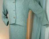 BLUE-GREEN Light Teal - Pastel Tweed Skirt Suit w/ Pencil Skirt -MED
