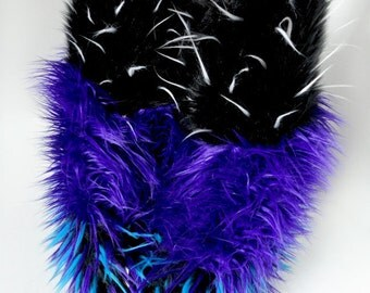 CUSTOM Striped Rave Fluffies furry bootcovers fuzzy boots gogo monster fur legwarmers