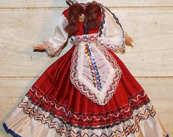 Folk Doll - Bohemian Ethnic Doll with Hand Painted Fabric Face - Gypsy - European - Collectible - Unique