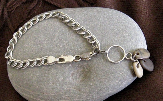 SALE - Bracelet Vintage Sterling Silver double link chain updated with Beach Stone charms - WAS 61,than 58 NOW 49.00