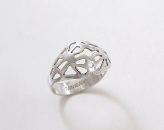 Botanical Jewelry, Flower band Ring Silver, floral band ring, Silver Flower Band Ring, Delicate Sterling Silver Flower ring Silver