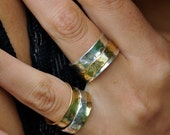 brass on silver spinning ring (silver ring)