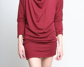 Womens Dress - Cowl Neck Dress Red Fashion Valentine Cotton S ONLY - Donation to RED CROSS