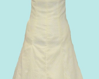 Custom Made Wedding Dress Gown  Strapless Ruched Bodice Ruffle Sweetheart Neckline Fit and Flare Skirt Misses Plus Size Made in USA Pockets