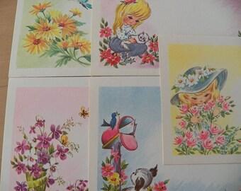Gorgeous Set of VINTAGE POSTCARD PRINTS..Juvenile..Girl..Dog..Flowers..Kitty...Unused...Must See