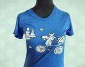 Unisex XL BIKE t-shirt (blue) by boygirlparty, dog cat bird bicycle - comfy comfortable soft