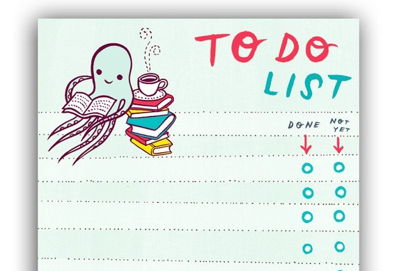 TO DO LIST - Octopus reading books coffee tea list notepad by boygirlparty Etsy