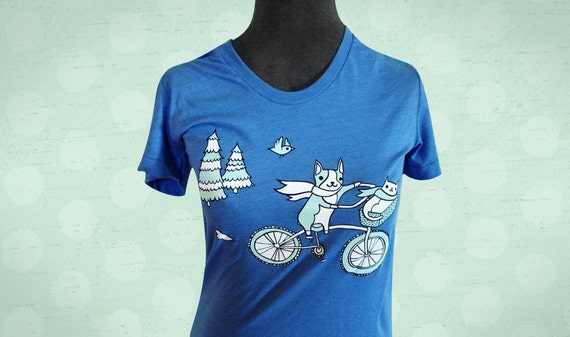 Unisex XL BIKE t-shirt (blue) by boygirlparty, dog cat bird bicycle - comfy comfortable soft