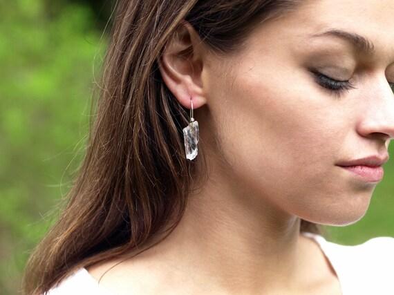 Raw Quartz Crystal Earrings Sterling Silver Jewelry Hippie Boho Rustic Handmade Jewelry