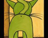 """8 X 10 custom matted print """"Green Kitty Butt"""""""