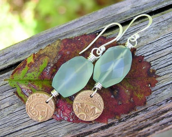 SALE. sterling silver, aqua chalcedony and artisan bronze gemstone dangle earrings. mixed metal earrings. faceted gemstone earrings. OOAK.