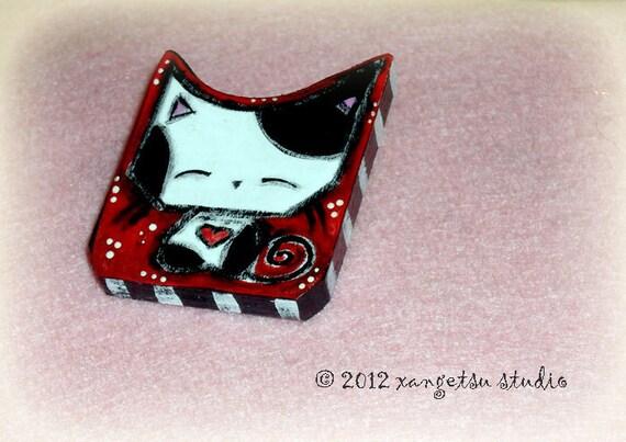 Handmade Cat Brooch Kawaii Black White Spotted Kitty Pin
