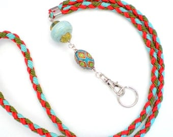 Hand Braided and Beaded id Badge Lanyard - Southwest