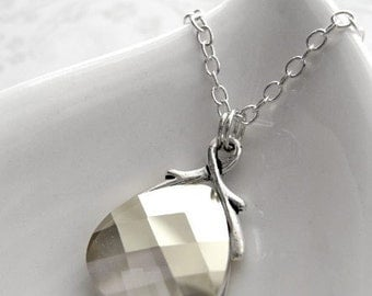 Silver Crystal Necklace - Silver Sheen Crystal Teardrop Pendant, Sterling Silver Chain, Crystal Bridal Jewelry, Elegant Wedding Jewelry 6012