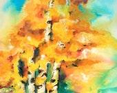 Aspen Trees .... Original Contemporary Modern EXTRA LARGE 40x50 Watercolor art EBSQ