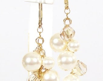 Ivory & Champagne Bridal Earrings, Cream Crystal Chandelier, Champagne Wedding Jewelry, light gold, mini chandelier, soft cream