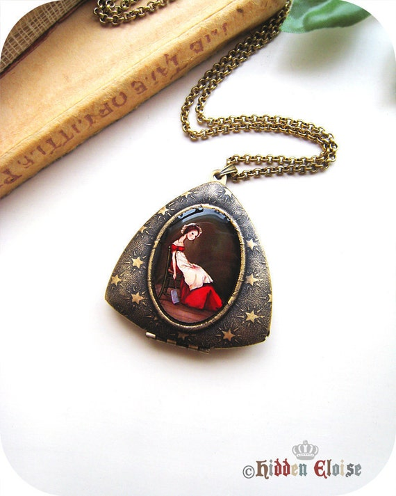 Victorian woman with cleaver Triangle Locket, metal art locket, artist pendant, Victorian maid servant, bloody apron, she done did it M06