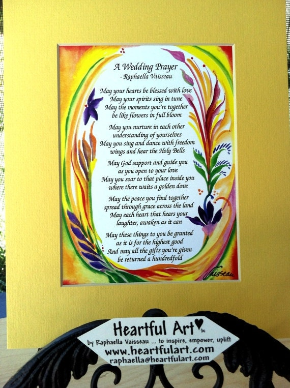 WEDDING PRAYER 8x10 Marriage Print Original Poetry Inspirational Quote Love Saying Family Wall Decor Gift Heartful Art by Raphaella Vaisseau