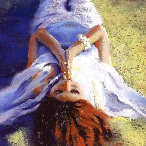Meditation Art Print - Redhead Art - ocean goddess landscape - signed limited edition